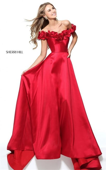 2017 Sherri Hill 51030 Off Shoulder Red Flower Ruffled Long Evening Dress