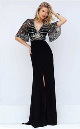 Black Sheer Beaded Sherri Hill 50591 Cutout Back Empire Slit Fitted Gown