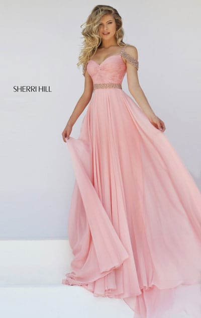 Sweetheart Neckline Blush Beaded Strap Sherri Hill 50086 Open Back 2016 Ruched Long Chiffon Evening Dresses