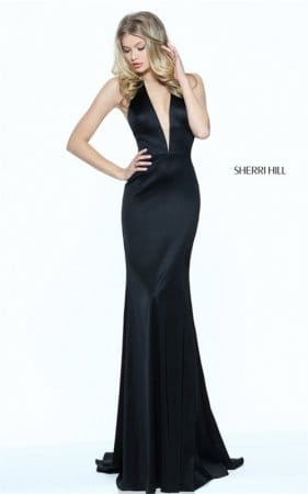 Cheap Black Sherri Hill 50919 Plunged Neck Halter Fitted Evening Dress 2017